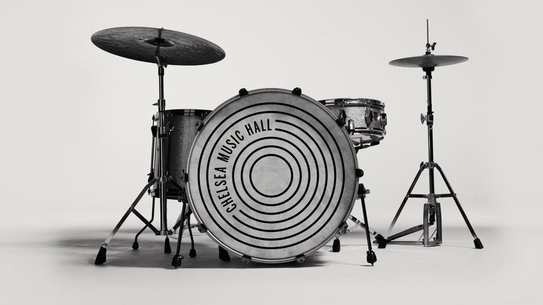 Chelsea Music Hall drumkit logo