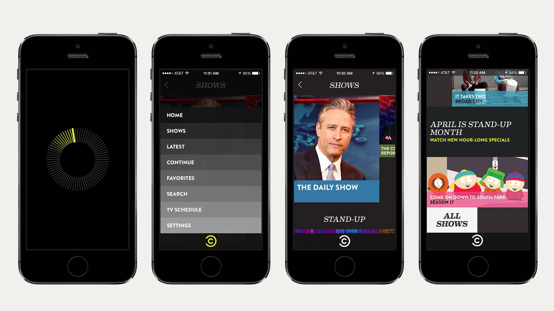 Comedy Central app design