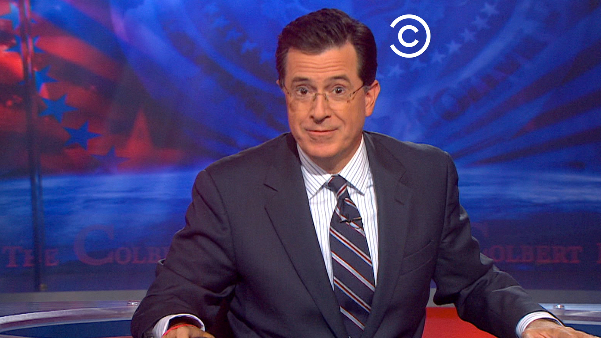 Comedy Central logo tagging Stephen Colbert