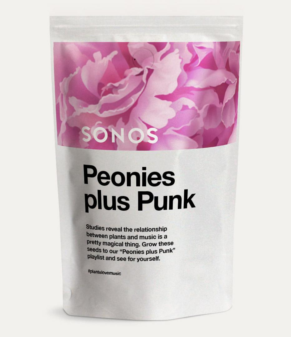 Sonos packaging Peonies and Punk seeds