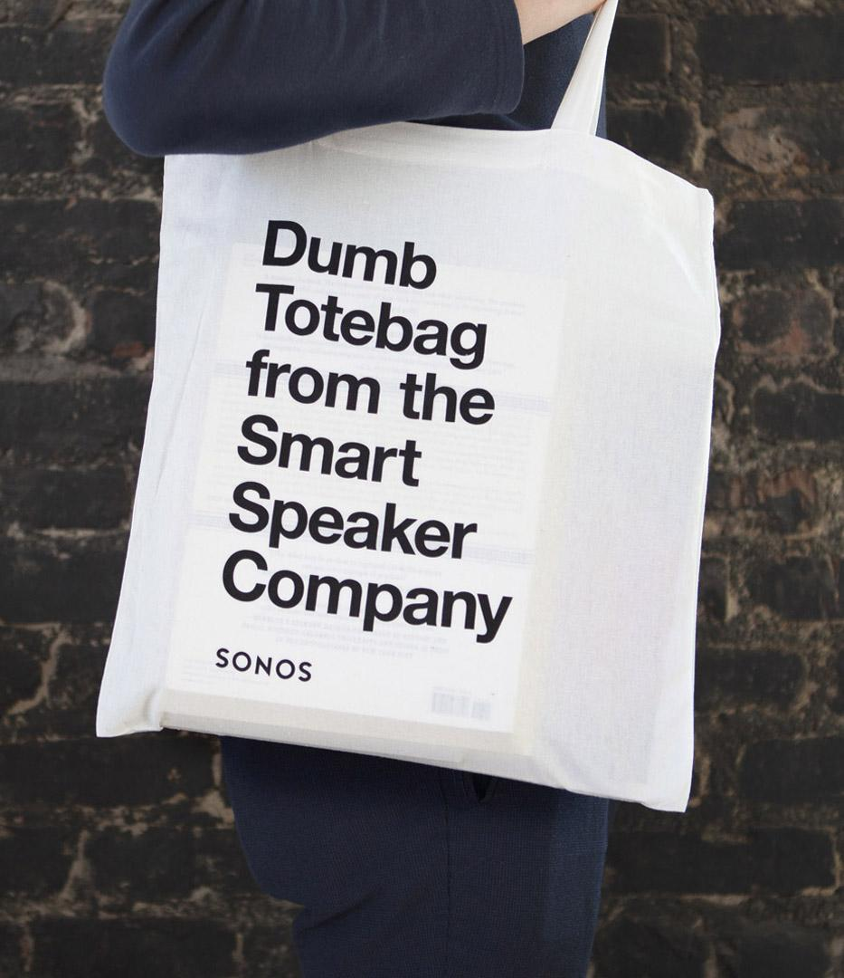 Sonos Dumb Totebag for the Smart Speaker Company