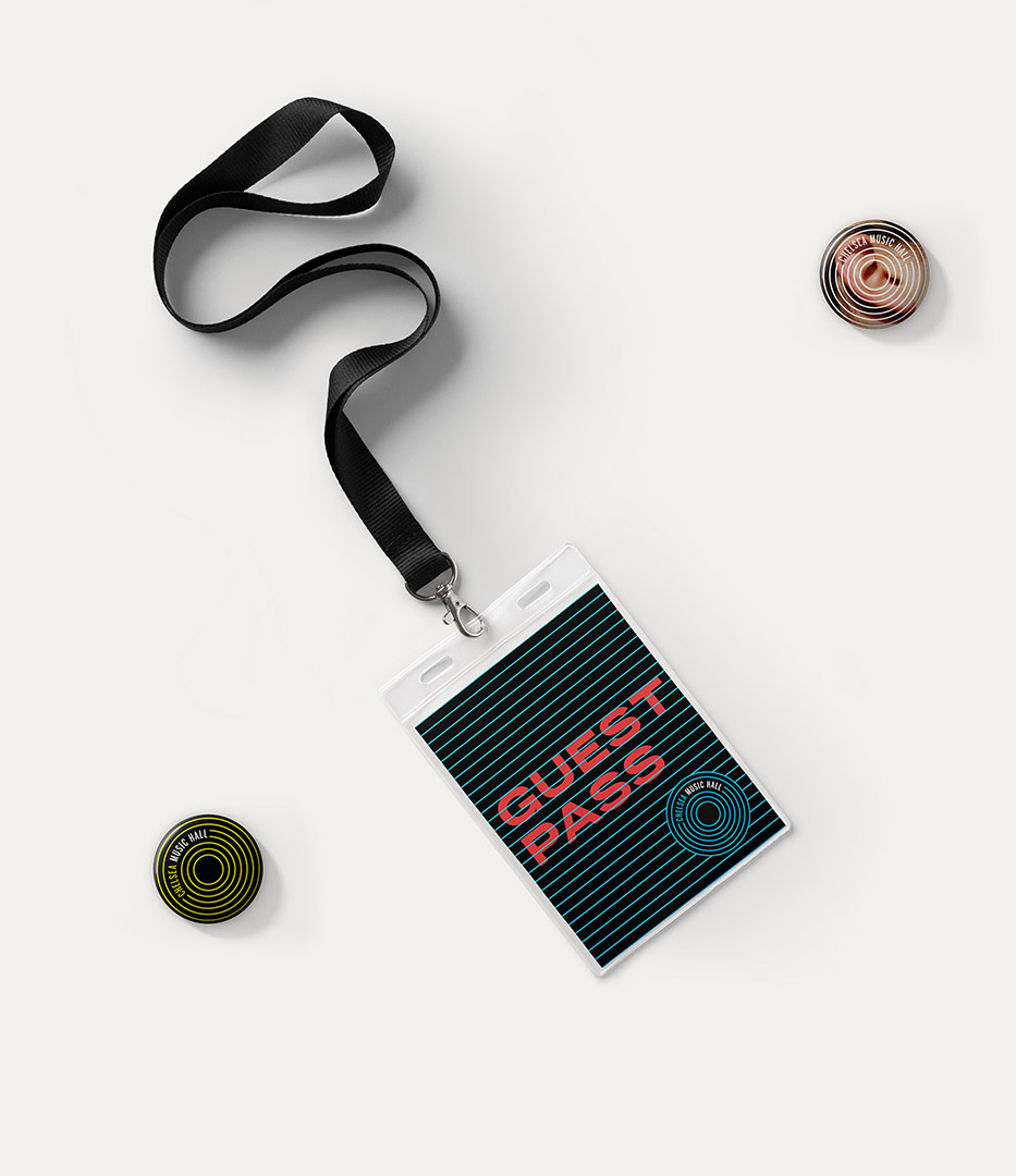 Chelsea Music Hall branding lanyard and buttons