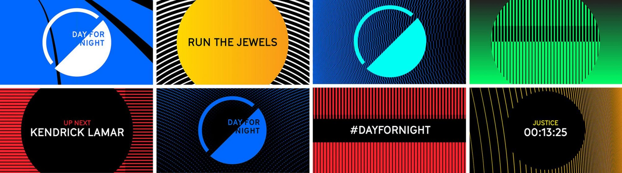 Day for Night Festival branding screens