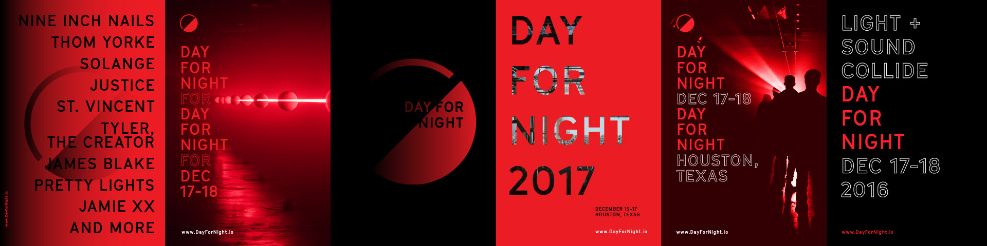 Day for Night Festival logo posters and branding