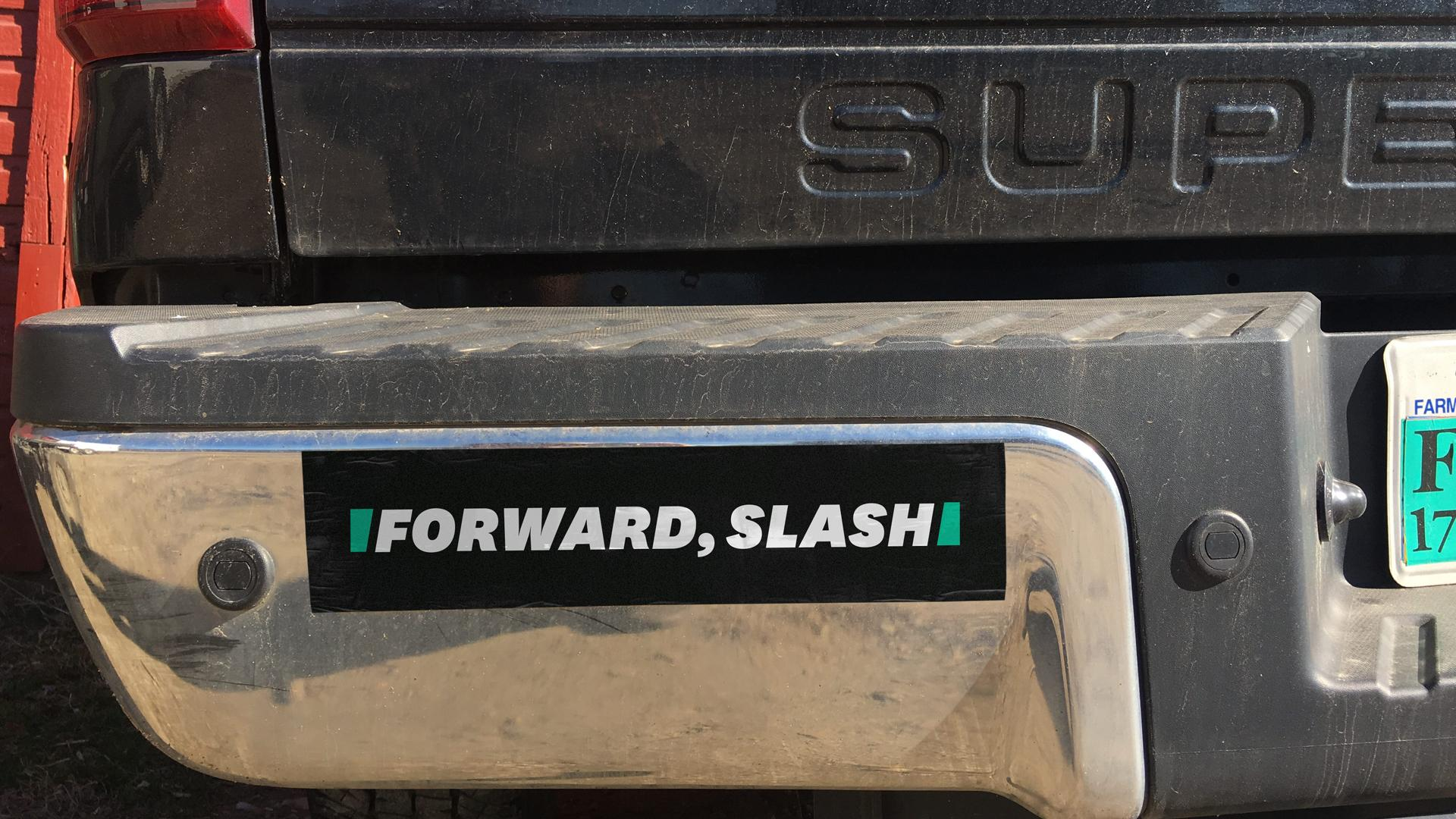 HuffPost logo Forward, Slash bumper sticker