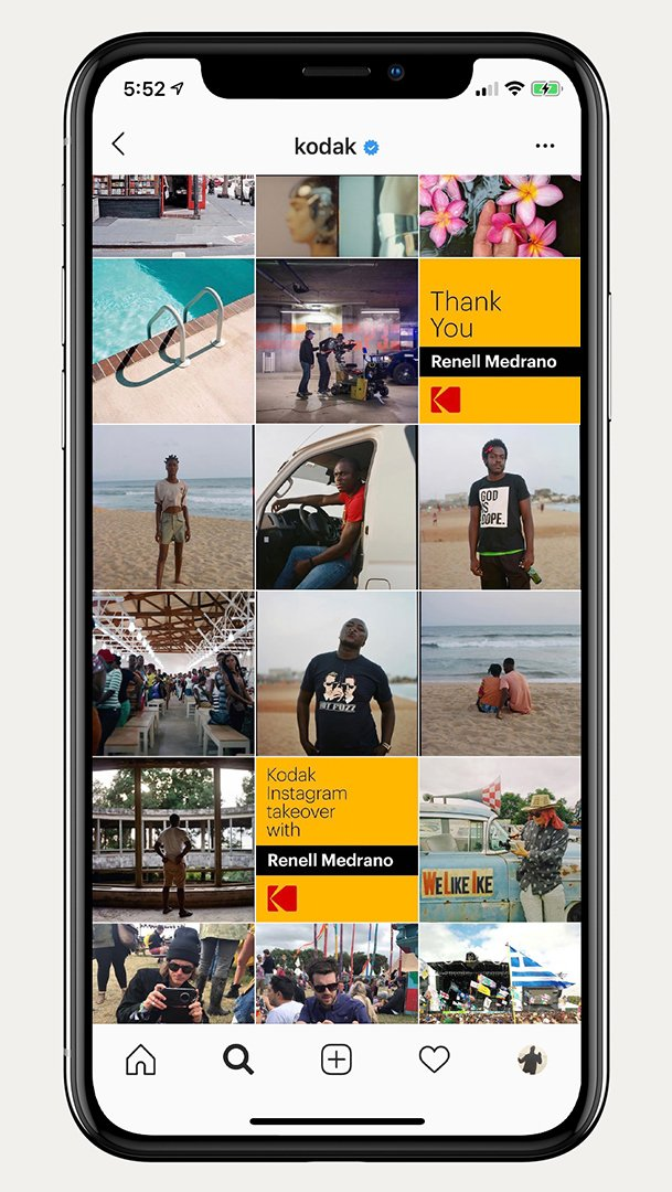 Kodak branding instagram
