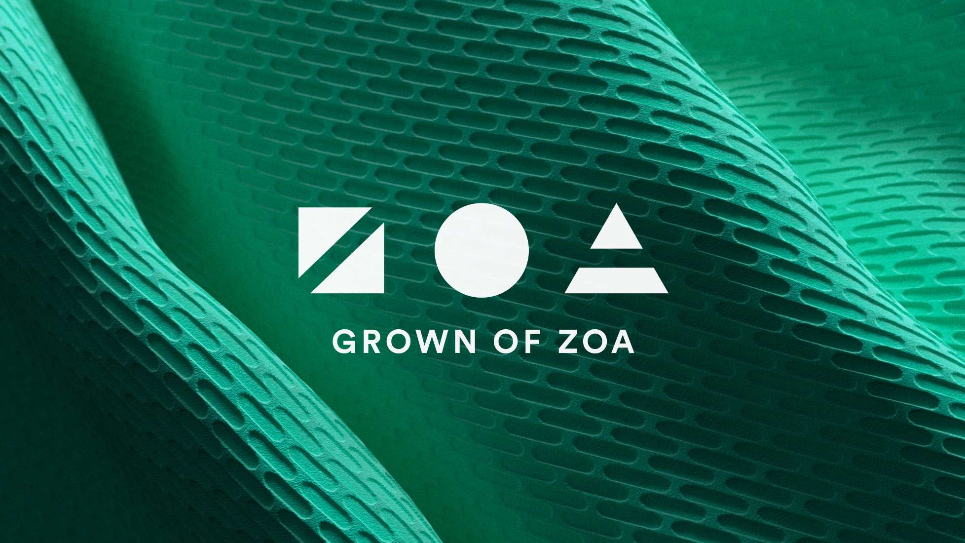 Zoa logo over material
